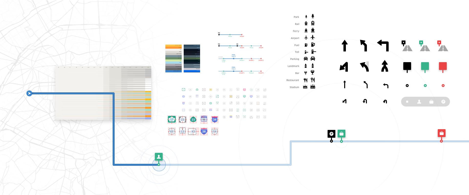 Иконки пользовательского интерфейса Uber Navigation