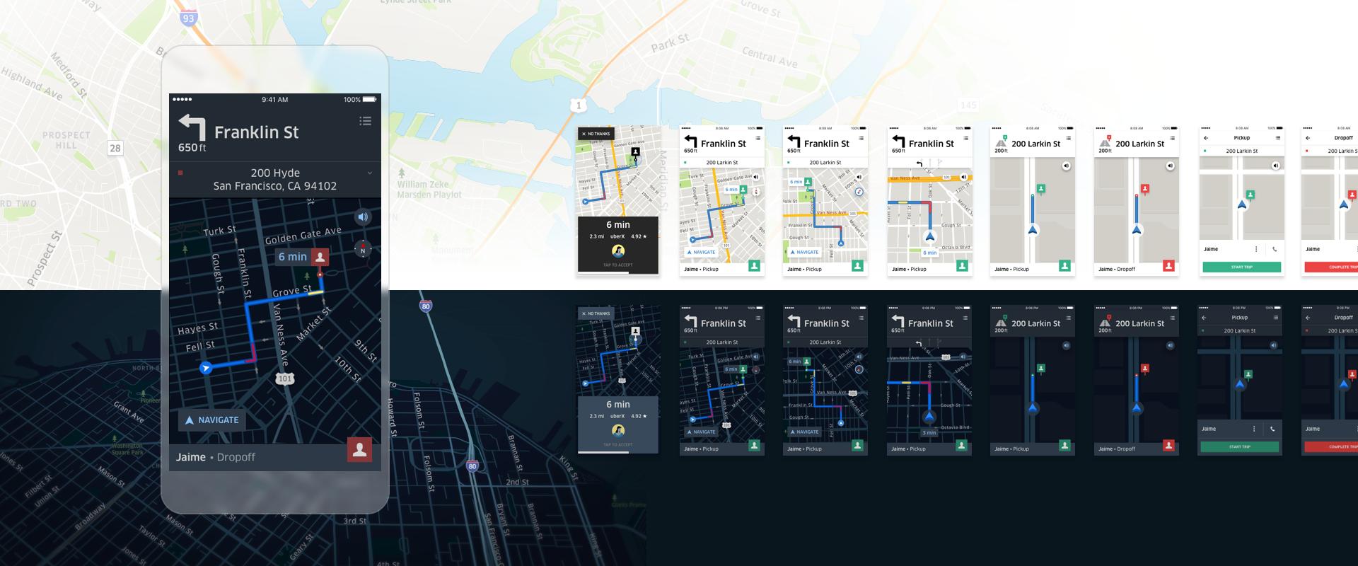 Uber Navigation. Дневной режим vs. Ночной режим
