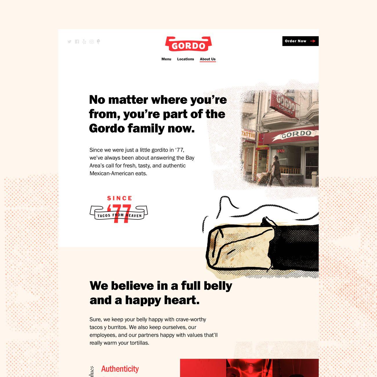 Сайт и бренд-дизайн от Focus Lab для калифорнийского кафе Gordo Taqueria