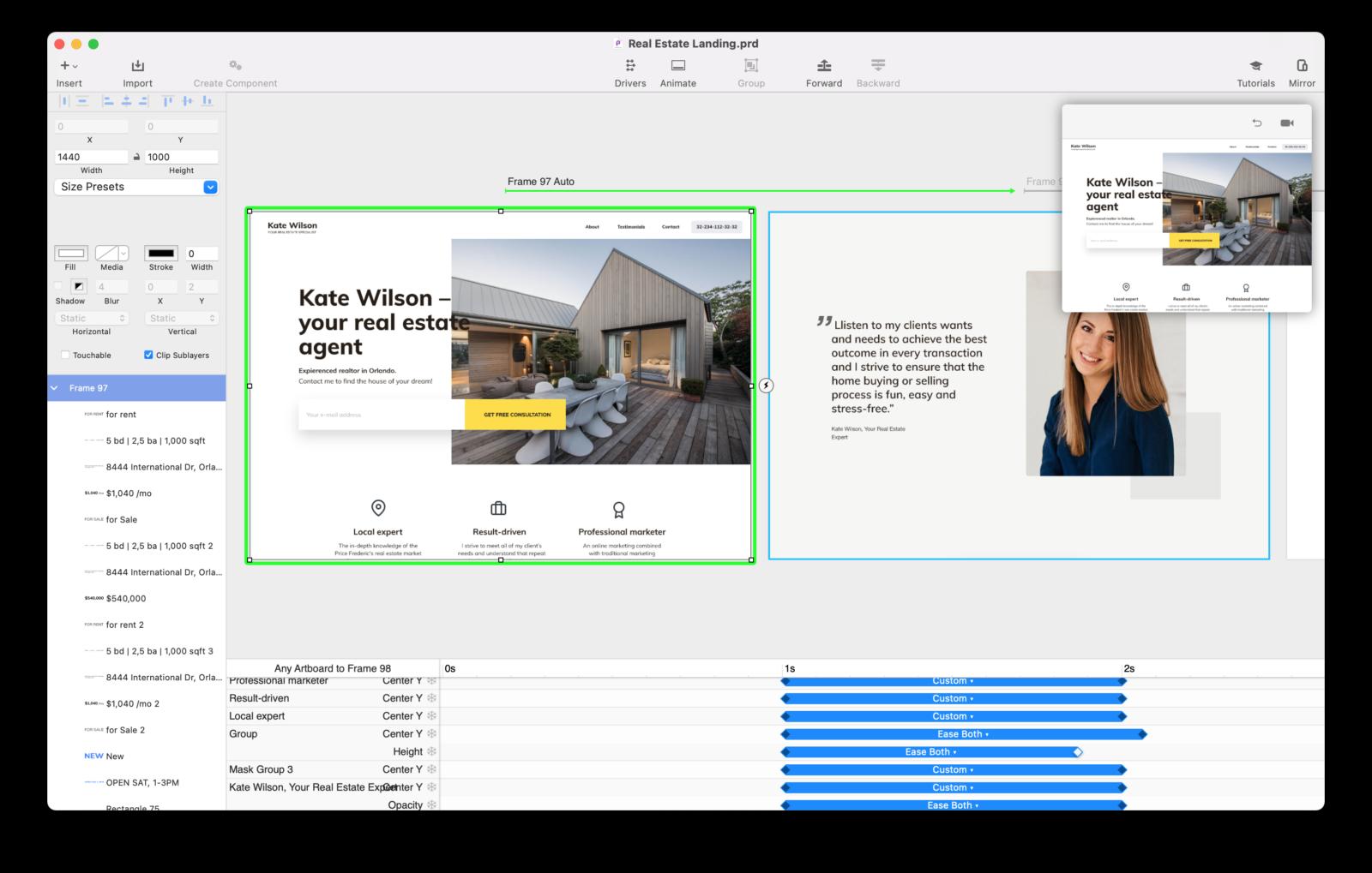 Principle — это программа для интерактивного дизайна, которая позволяет оживлять статичные макеты в Figma/Sketch, создавать интерактивные прототипы и анимировать интерфейс.